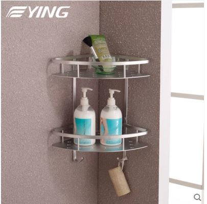 Space Aluminium Series Tirangle Double Shelf Bathroom Shower Shelf
