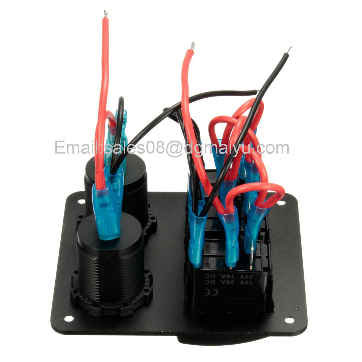 Waterproof 3 Gang Car Switch Panel LED Rocker with 2 USB Socket Cigaretter Plug for Marine/Boat/RV 12V