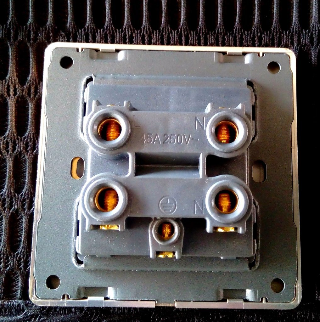 British Standard Black Golden-Framed One Gang 45A Wall Switch