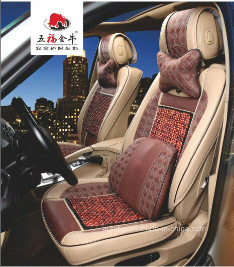 Message Car Seat Cover 3D Shape Rosewood and Fur-Type Fabric
