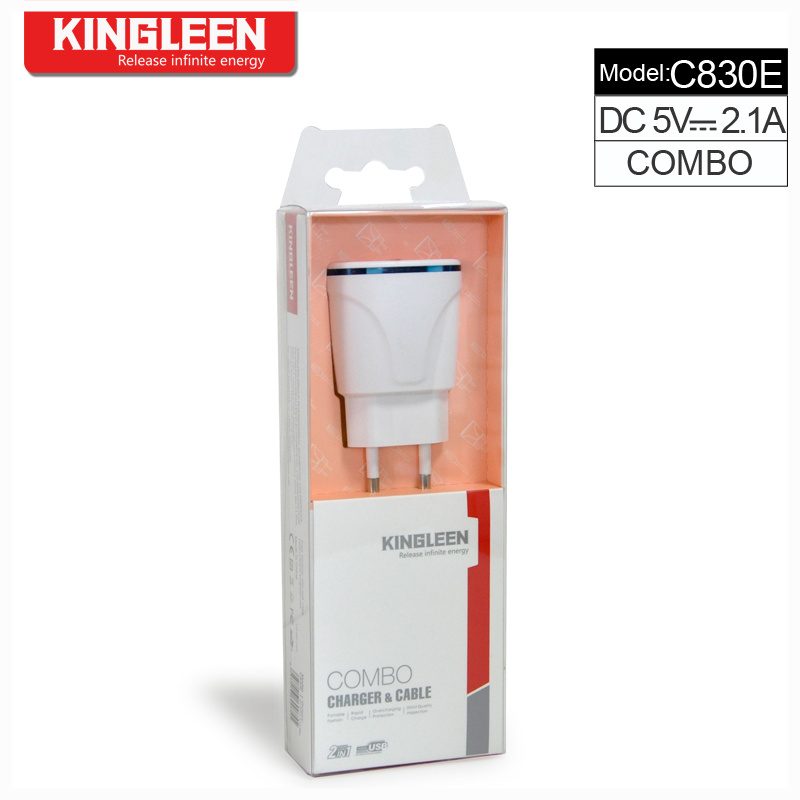 Kingleen C830e Dual USB Intelligent Charger Combo for iPhone/Micro/Type-C 5V-2.1A High Quality Charge Export to Europe