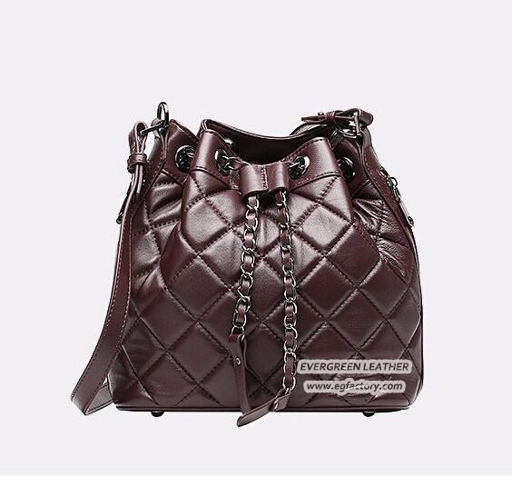 Latest Soft Designer Grid Lady Bucket Bags Real Leather Women Handbags OEM Factory Emg4912