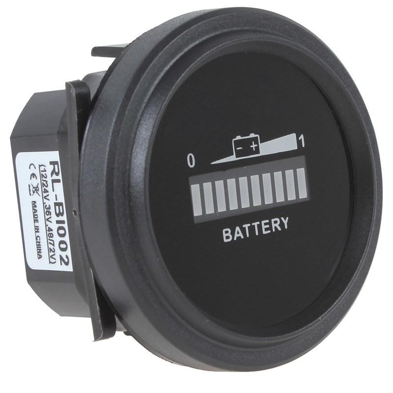 Round Digital LED 12V 24V 36V 48V 72V Battery Indicator Meter Gauge Charge Status Monitor Tester for Golf Carts Forklift Car Scooter Motorcycle (12V-72V)