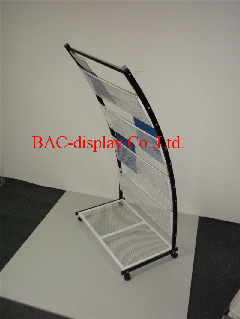 Factory Direct Supply White Powder-Coated Wire Mesh Bookshelf