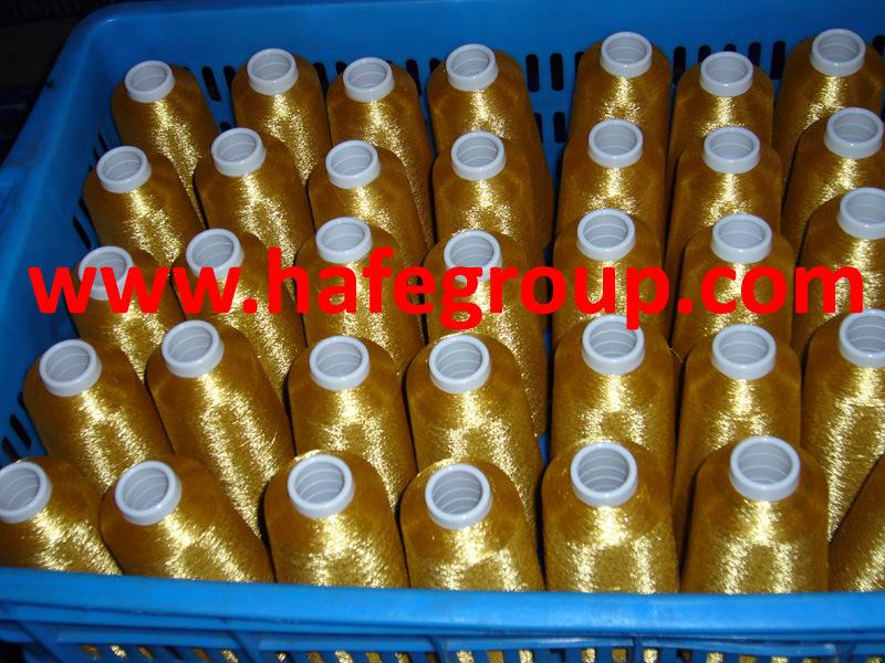 Pure Gold Metallic Yarn On 150d Polyester Yarn Or Rayon Yarn (MS-A2)