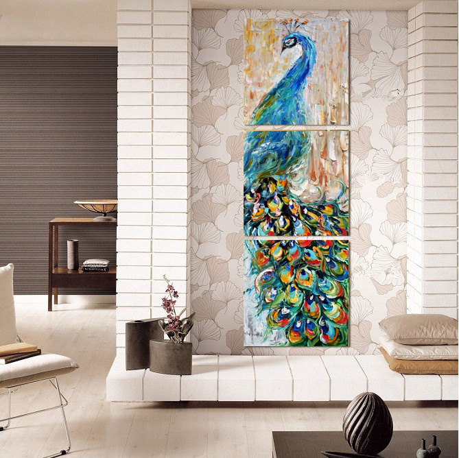3 Pieces Wall Art Peacock Painting Wall Art Print Painting Home Decoration Pictures Print on Canvas Framed Art Mc-213