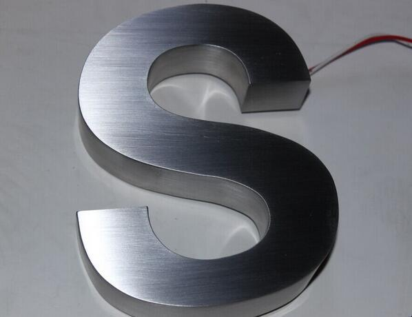 Brushed and Polished Non-Illuminated Metal Stainless Steel 3D Letter Sign