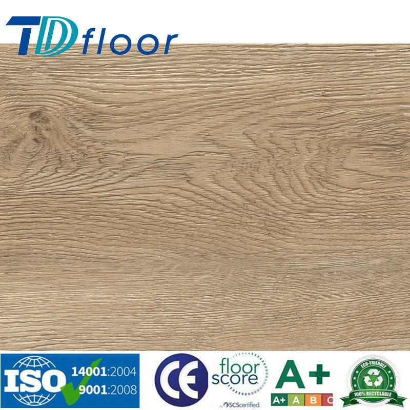 Wood Grain PVC Vinyl Flooring for Office / Supermarket/School