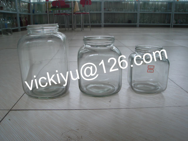 Big Food Glass Storage Jars 1L~12L, Large Square Glass Bottles