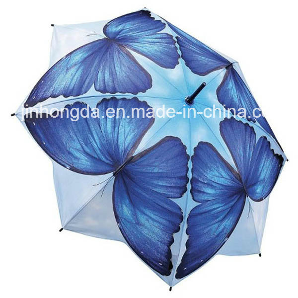 8 Panels Butterfly Pattern Straight Umbrella (YSC0016)