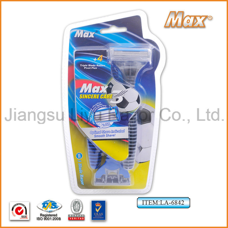 Popular in Germany Hot Selling Compete with New Design High Quality Stainless Steel Blade Disposable Shaving Razor (LA-6842)