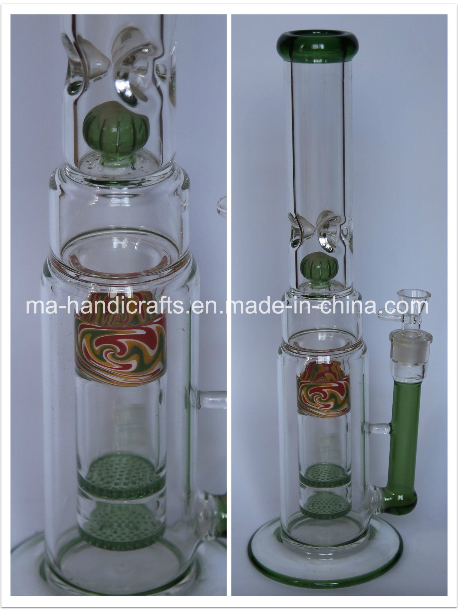 "17"" Colorful Smoking Water Pipes with Double Fritted Disc Perc"