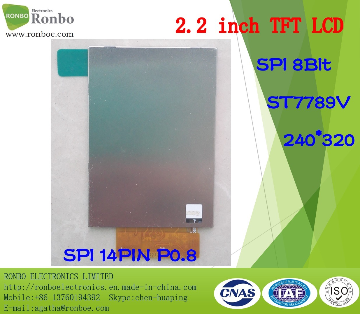 2.2 Inch 240*320 Spi 14pin TFT LCD Panel, St7789V with Option Touch Screen