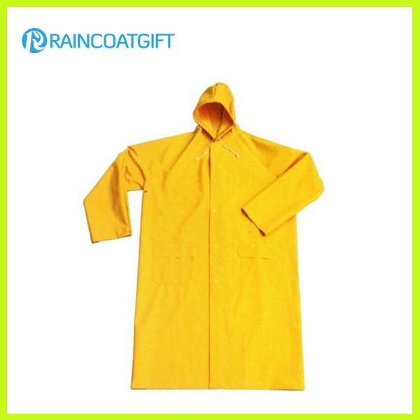 Rpp-005A Yellow Durable PVC/Polyester Long Rainwear