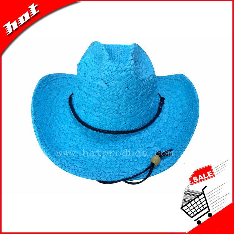 Blue Cowboy Hat Paper Straw Hat