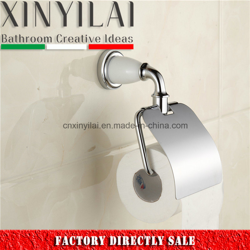 White Paint Chrome Toilet Paper Holder with Solid Brass Cover