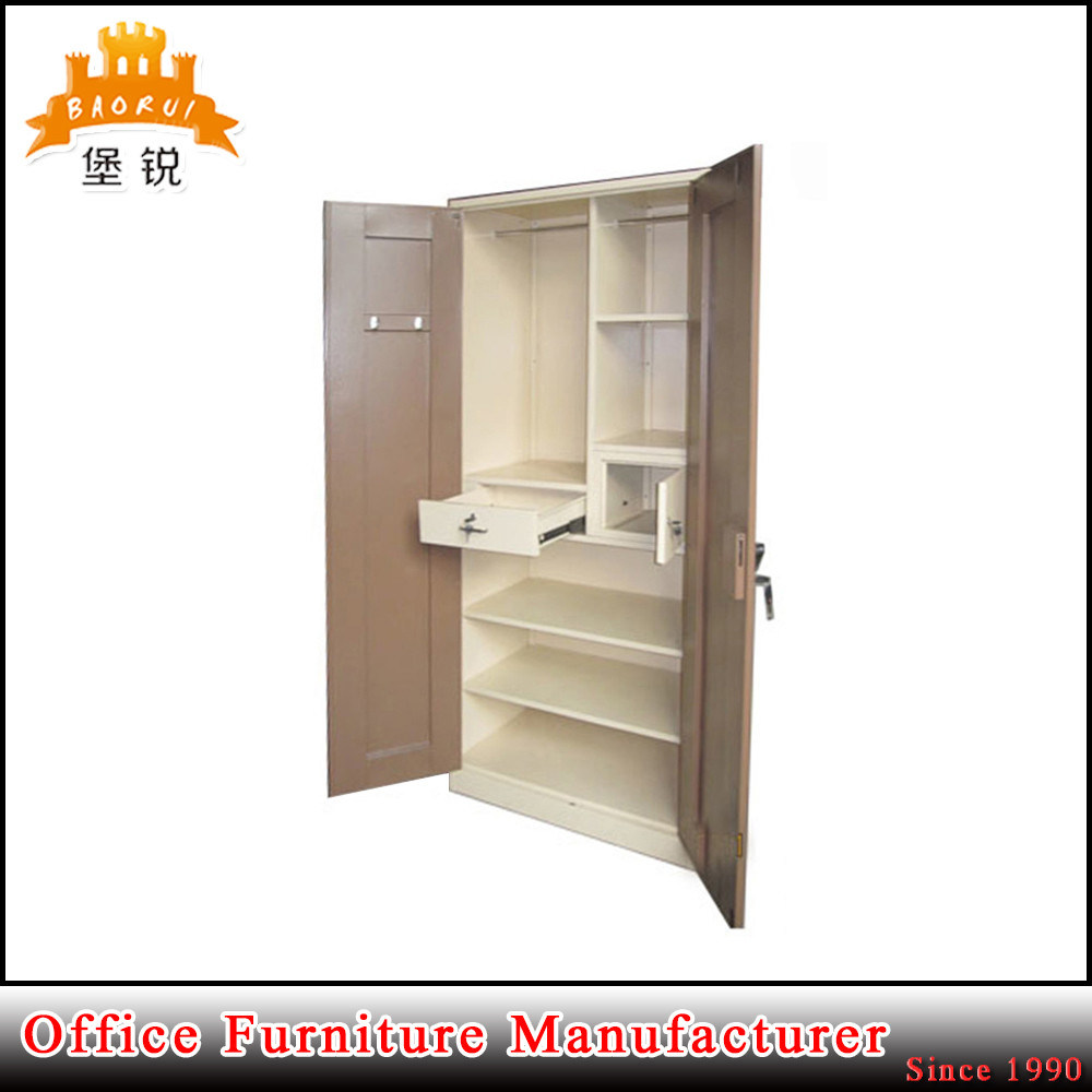 Metal Double Door Bedroom Iron Inside Drawer Steel Clothing Closet Wardrobe
