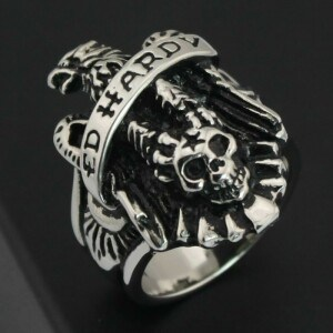 Gothic Stainless Steel Silver Men Favor Ring Jewelry