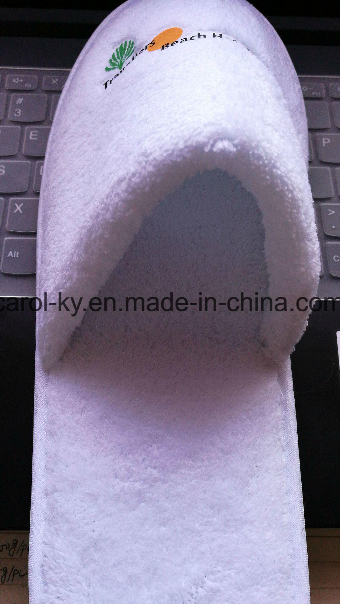 5 Star Hotel Printing Logo Polyester Fleece Hotel Slipper
