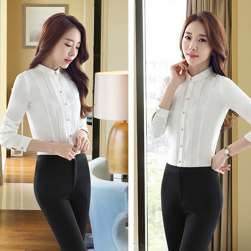 Business Women Blouse Long Sleeve Formal Shirt with 100% Cotton