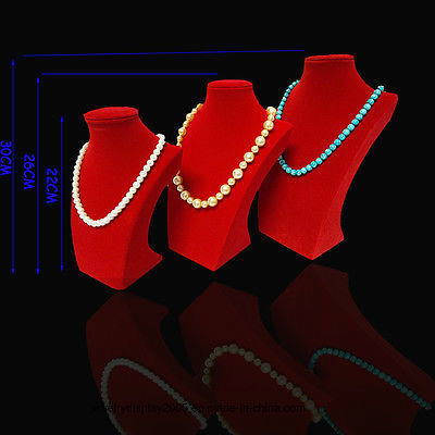 3PCS New Red Velvet Gold Jewelry Display Necklace Stand Holder Bust