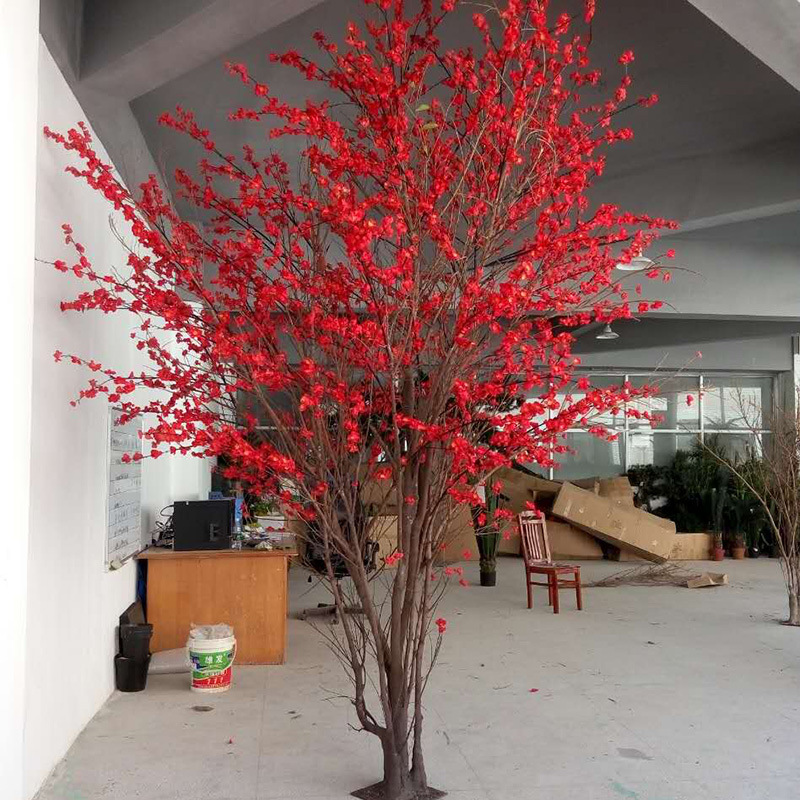 Hotel Decorative Silk Lifelike Artificial Faux Peach Plum Blossom Tree