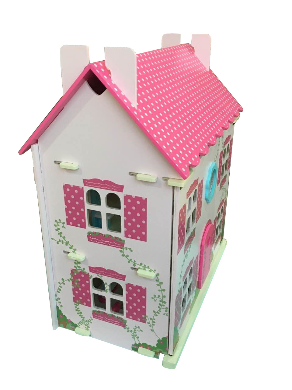 Wooden Pink Doll House Toy for Kids and Children