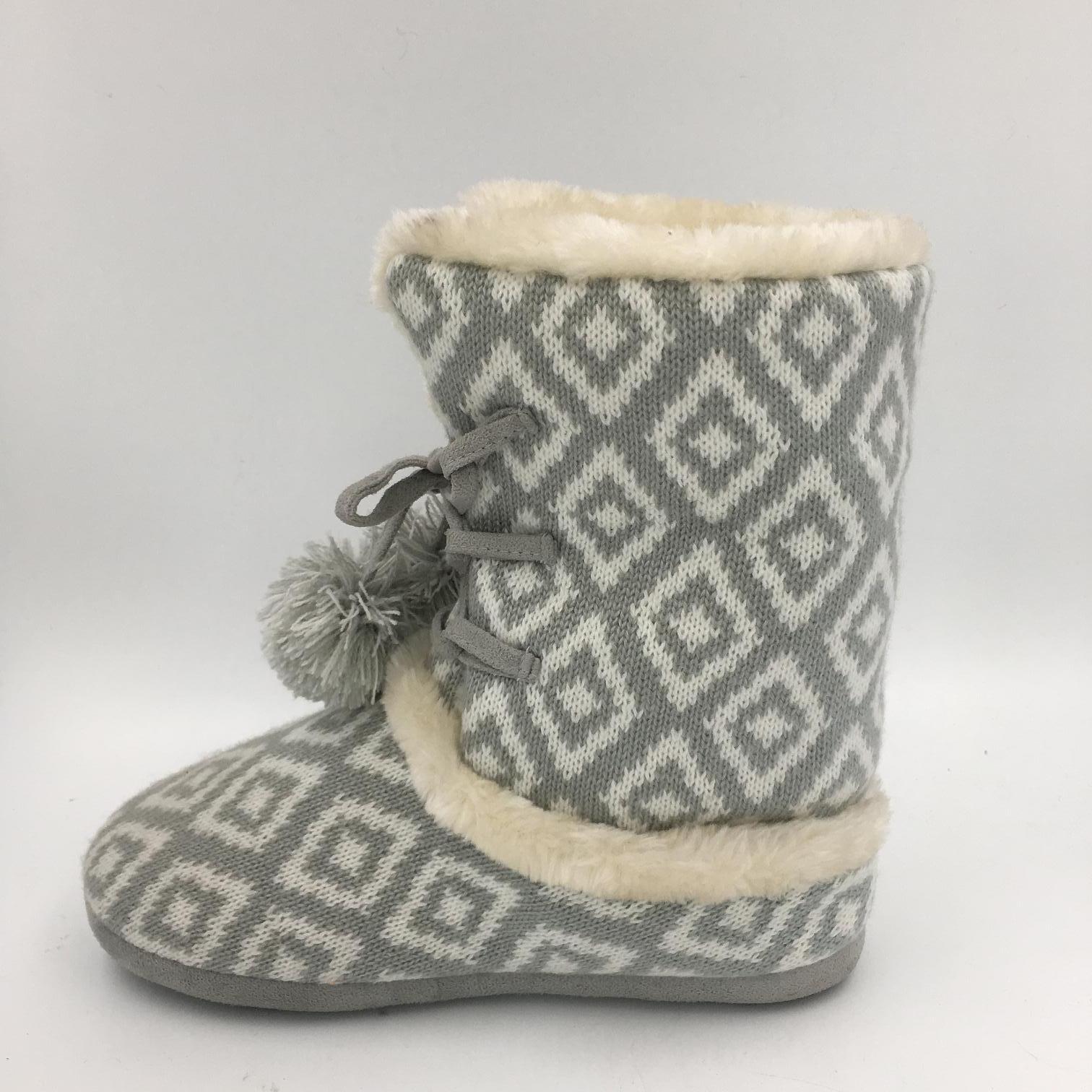 Lds Multi Knit Warm Indoor Slipper