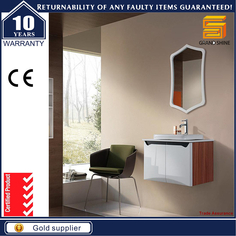 European Style Wall Mounted White Glossy Paint Bathroom Vanity Cabinet