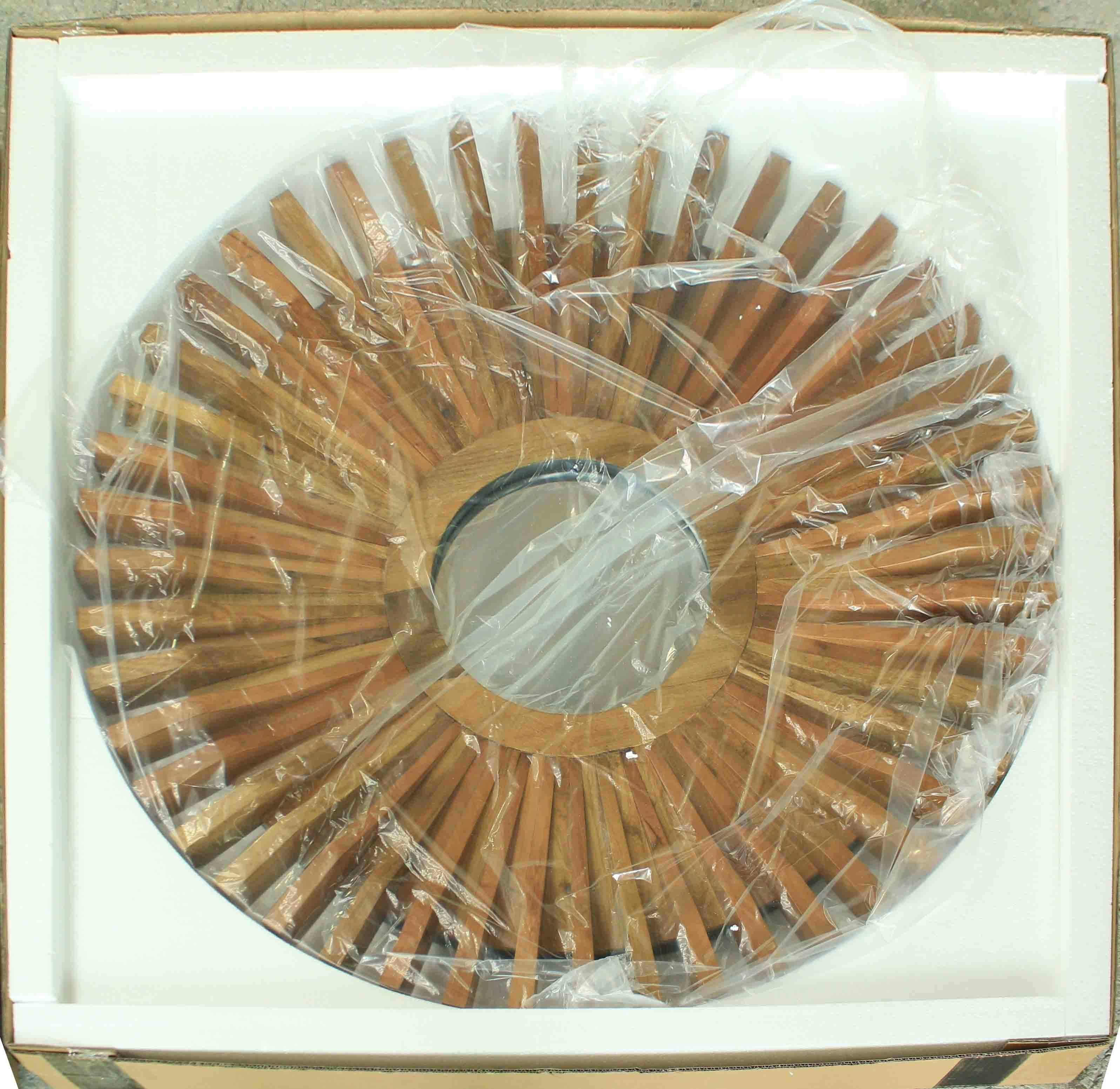 Home Decorative Solid Wood Sunflower Shape Modern Wall Mirror (LH-W17033)