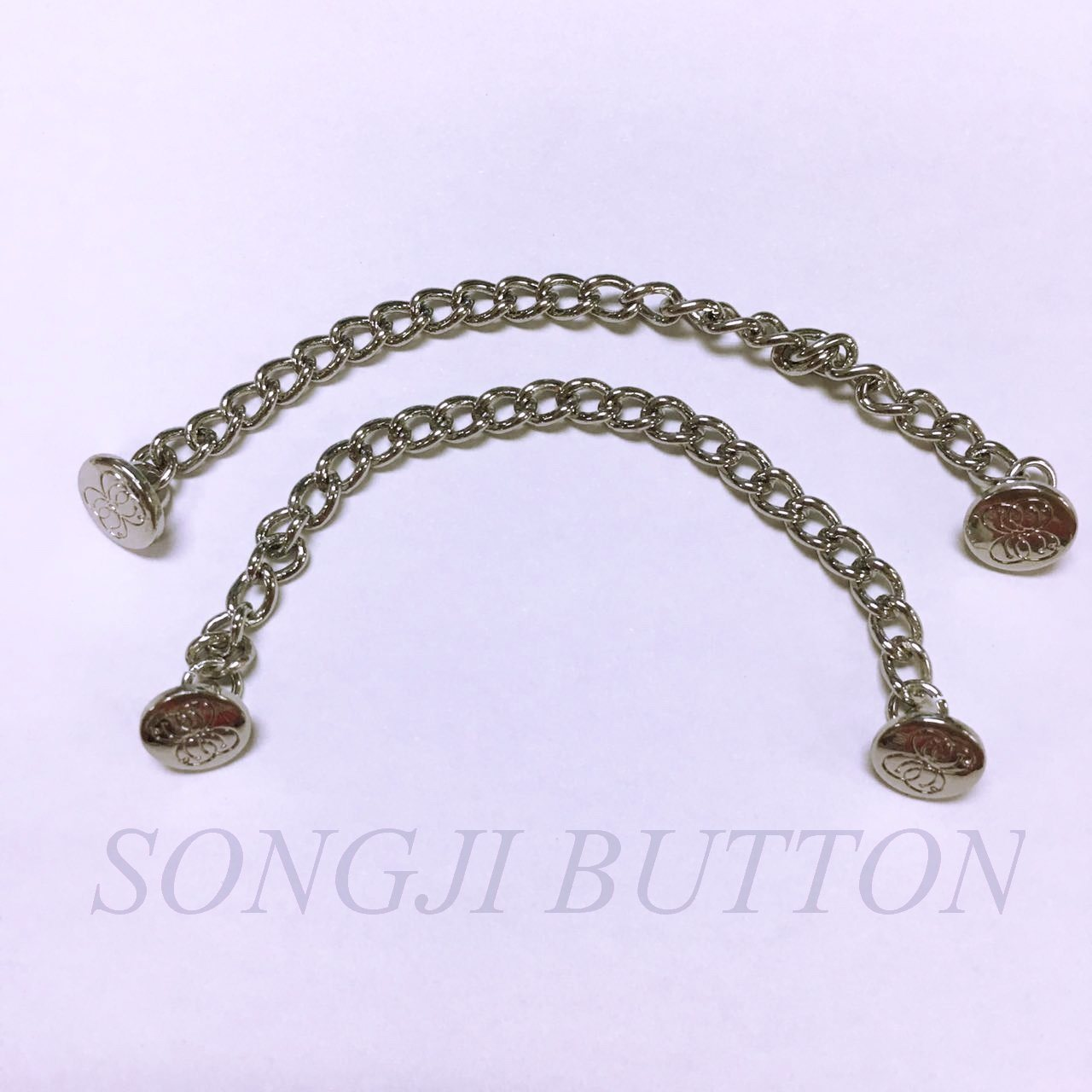 Garment Accessories Brass Link Chain with Alloy Metal Button