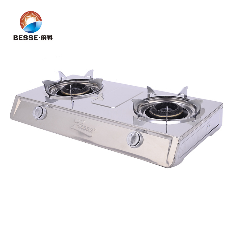 Stainless Steel Double Burner Gas Stove, Blue Fire