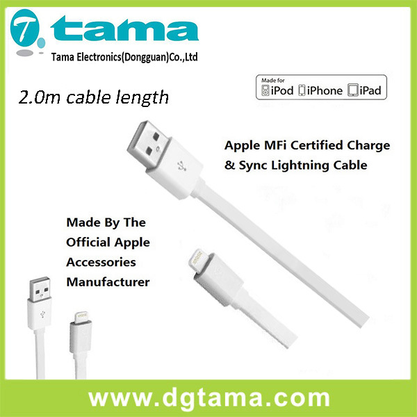 Certified Flat-Line Mfi 6 Feet Lighting Cable for Apple White