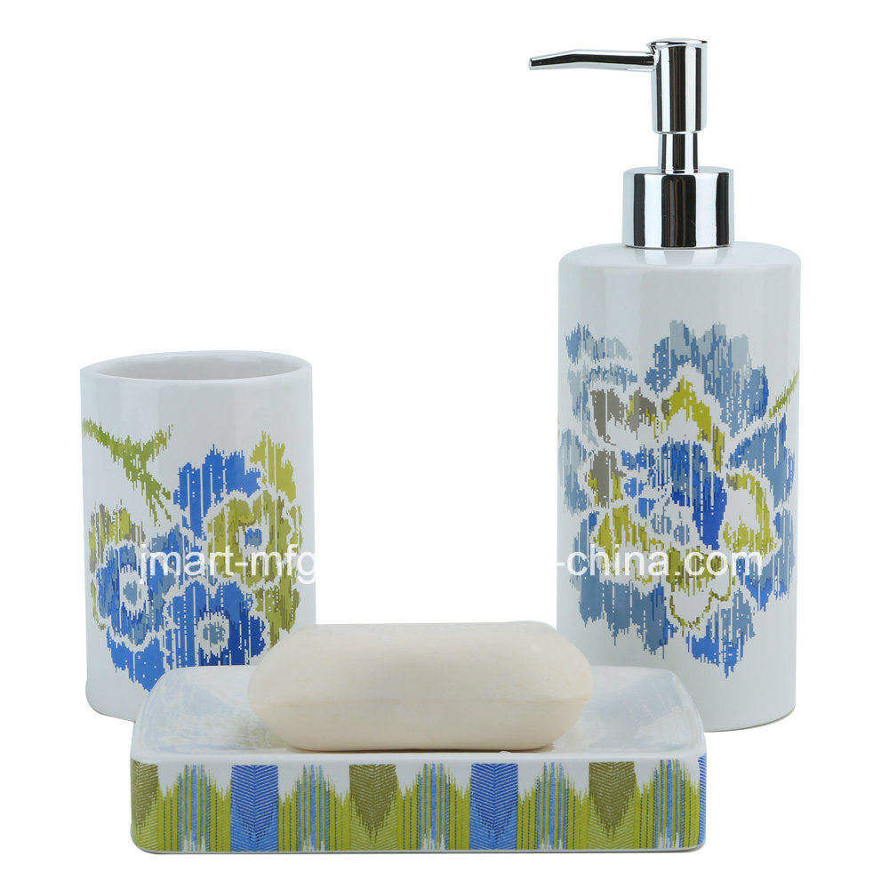 Stripe Flower Decal Ceramic Bathroom Accessory / Bath Accessory / Bathroom Set