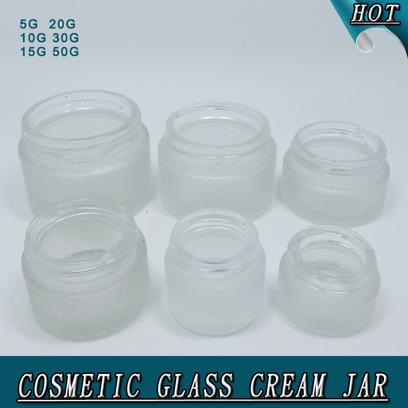 Wholesale Round Shape White Frosted Cosmetics Cream Empty Glass Jar