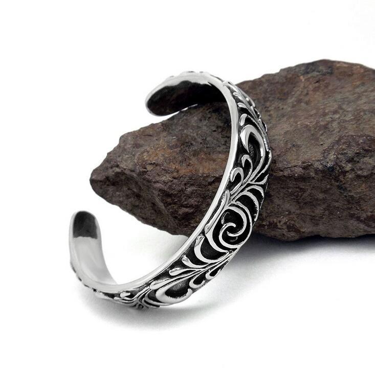 Men Bracelets Titanium Steel Fashion Jewelry Cuff Bangles