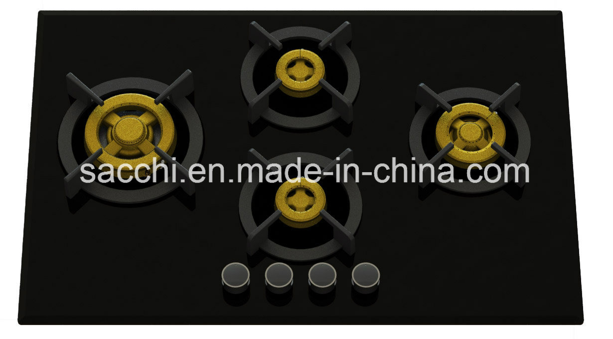 Supreme 4 Brass Burner Gas Hob (8mm Glass)