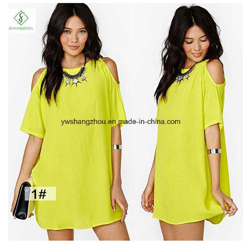 Hot Sale Fashion Euramerican Short Sleeved Chiffon Strapless Maxi Dress