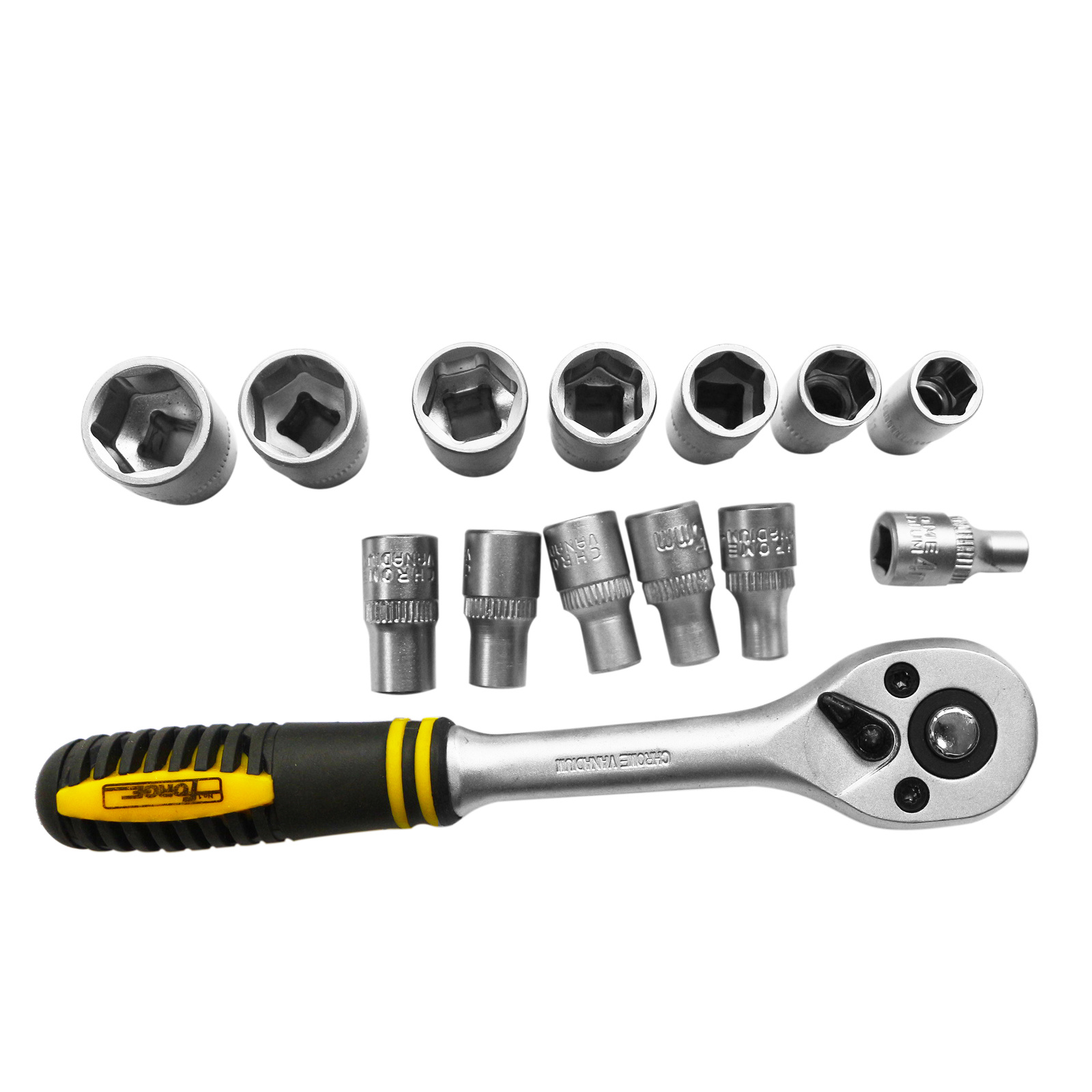 "Hand Tools 11PCS Cr-V Steel Satin Chrome Plated 1/2"" Drive Socket Set"