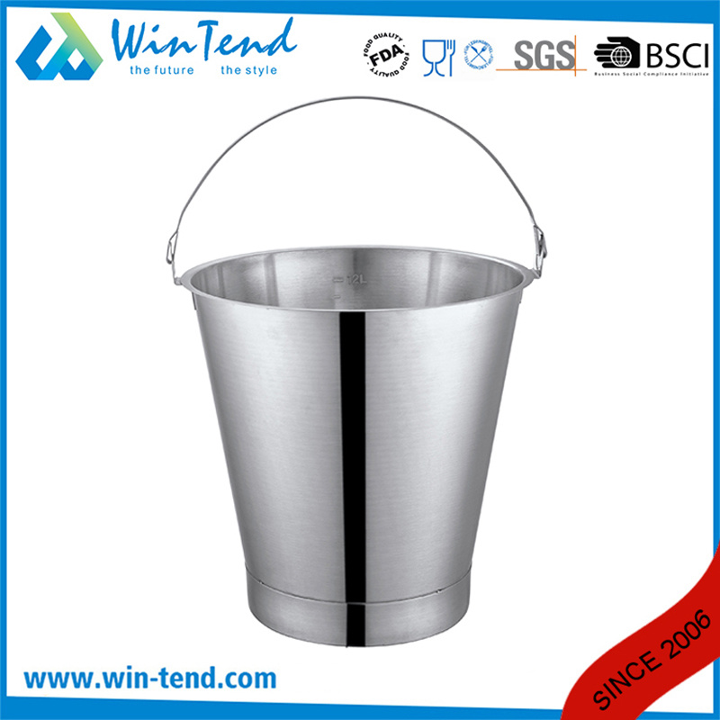 Stainless Steel Engraved Inclined Bucket with Reinforced Bottom Base