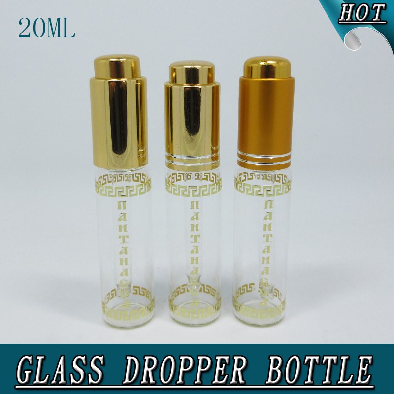 20ml Slim Cylinder Clear Cosmetic Glass Dropper Bottle Pipette