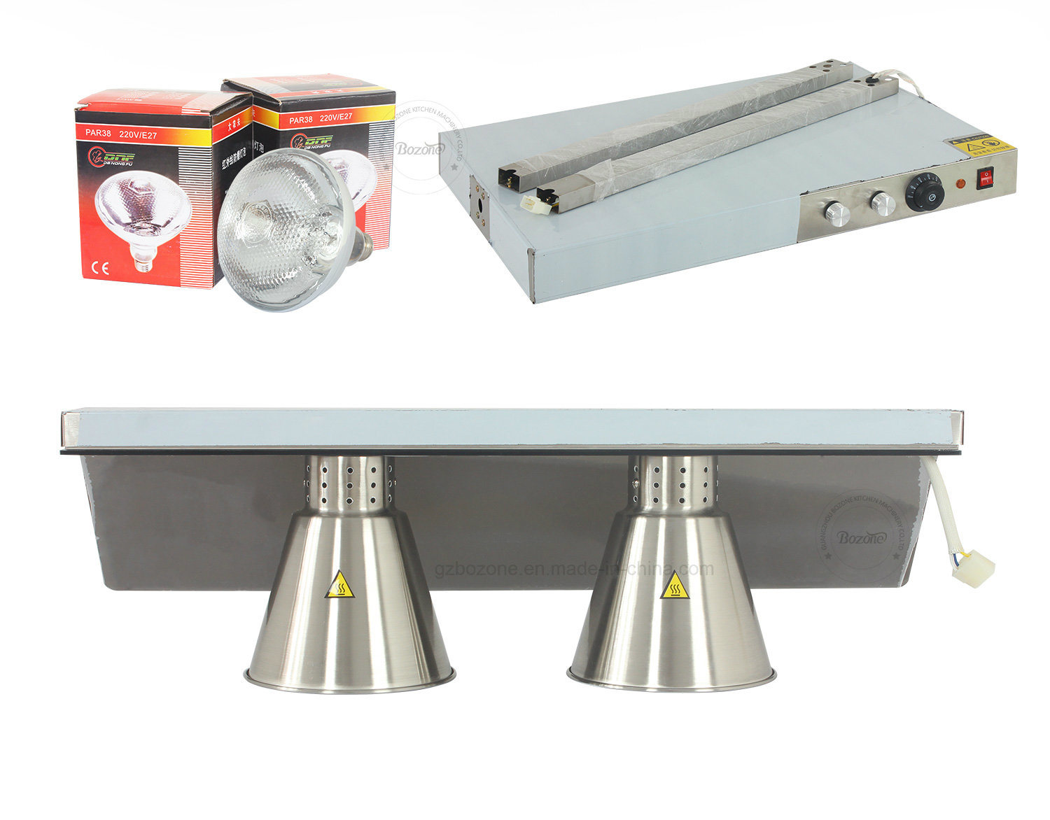 Double Head Stainess Steel Food Warming Lamp for Buffet