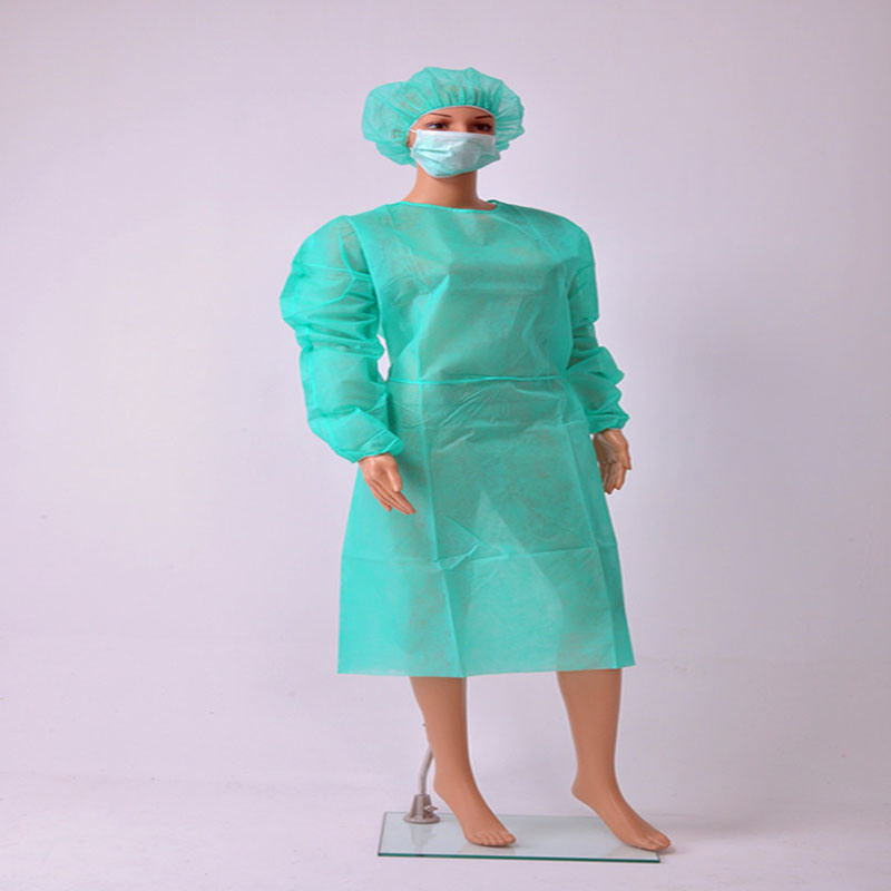Disposable Nonwoven Isolation Gown with Elastic/Knitted Cuff