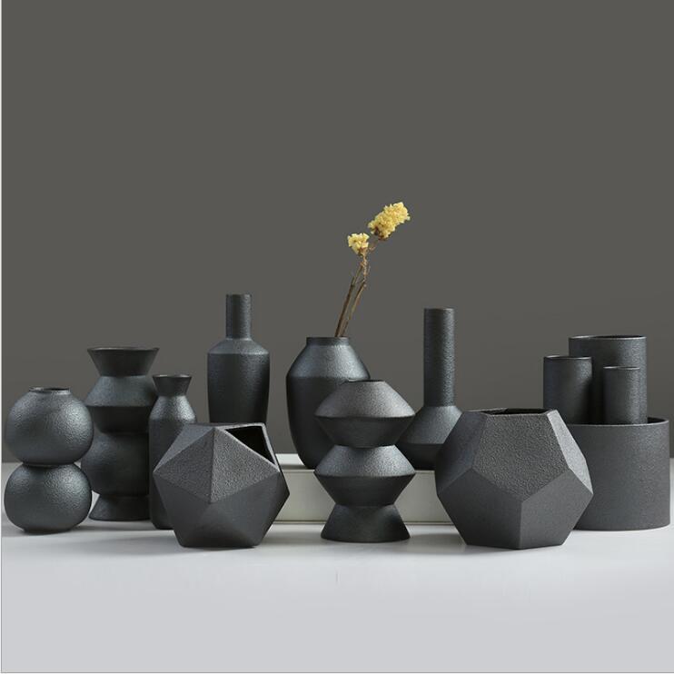 Porcelain Ceramic Vases, Ceramic Black Floret Bottle