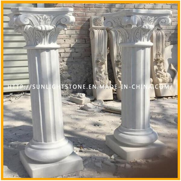 White Marble Stone Sculpture Pillar/ Column for Home Decoration