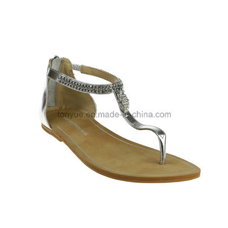 Lady Leather Leisure with Flat Sandals Flip Toe Women Sandals