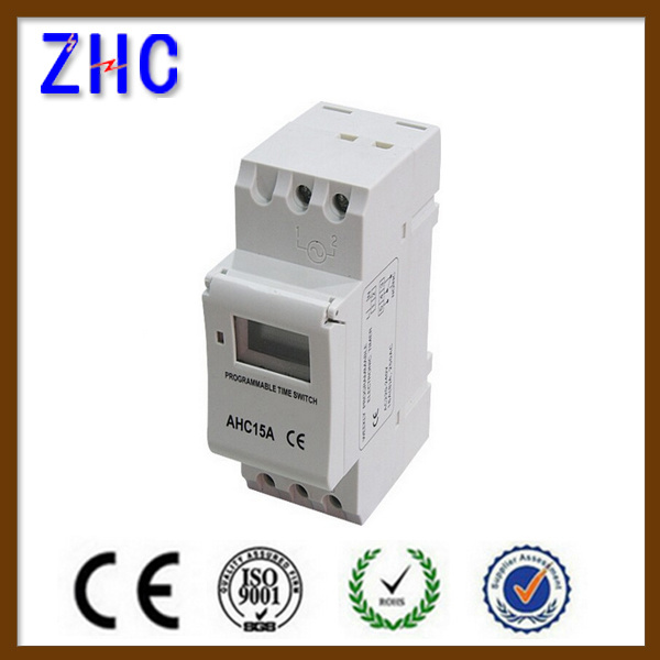 LCD Display Digital DIN Rail Ahc15A 250V Intelligent Timer