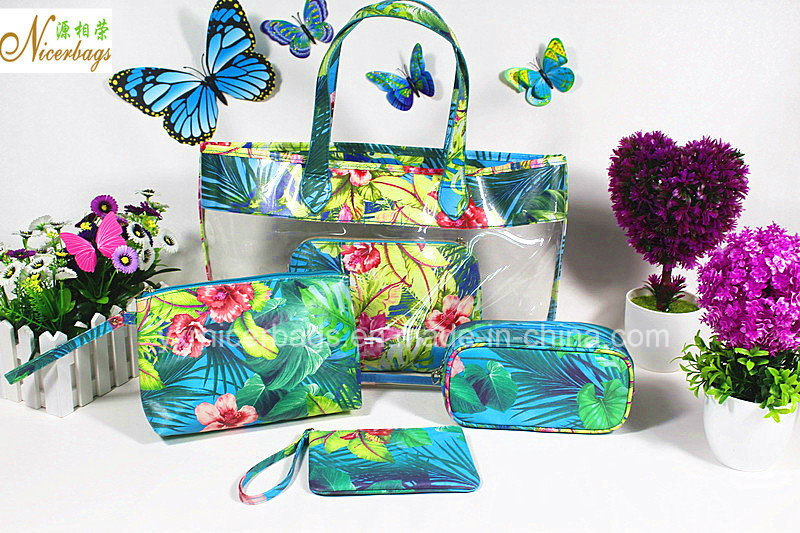 Beach Summer Fashion Clear PVC Beach Ladies Handbag Bags Set