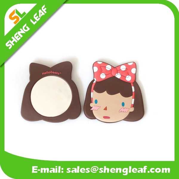 Cartoon Customized Design Rubber Makeup Mirror (SLF-RM008)