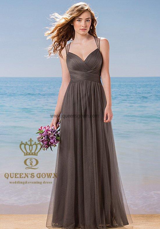 Made in China Women′s Tulle V-Neck Sleeveless Bridemaid Dresses
